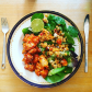 sweet chilli chicken and Quinoa with mixed leaf salad