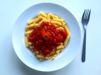 Homemade Gluten Free Pasta with homemade tomato sauce